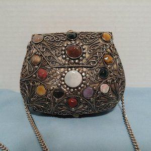 Vtg Sajai Ornate Metal & Semi Precious Stone Purse